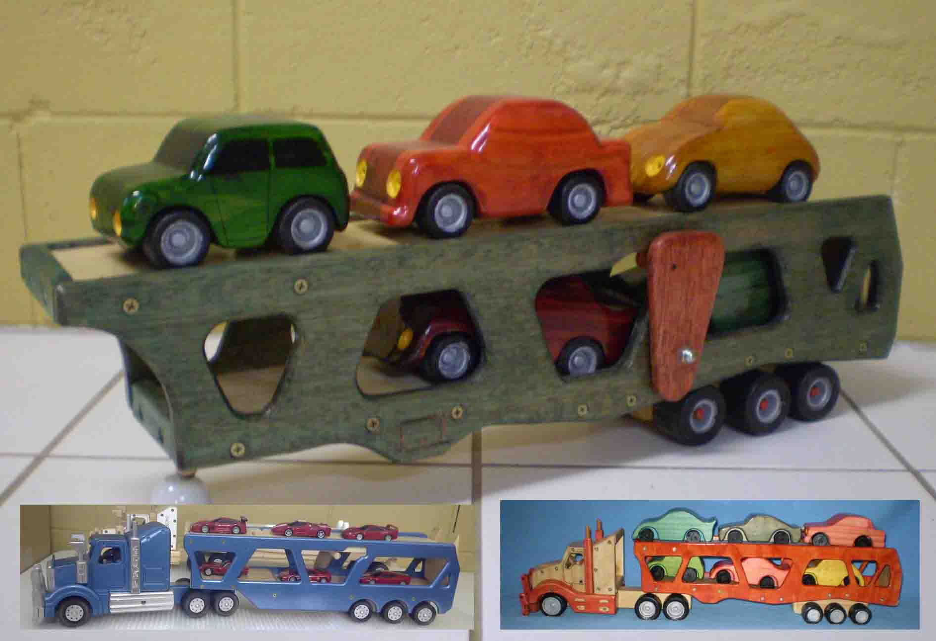 Wooden car trailer transport with cars